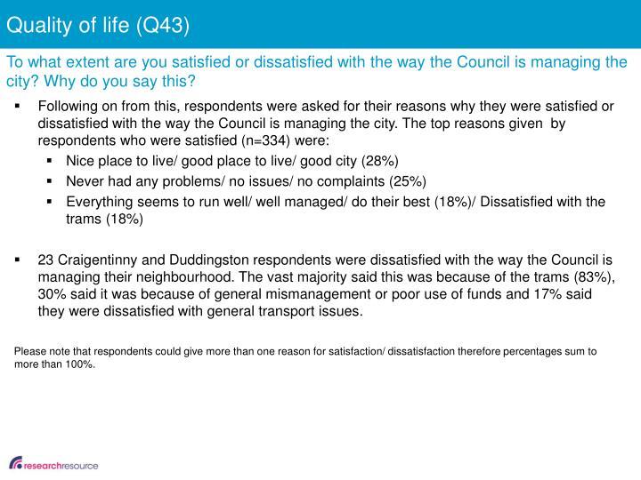 Quality of life (Q43)