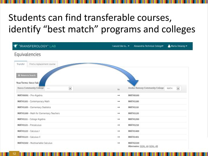 "Students can find transferable courses, identify ""best match"" programs and colleges"