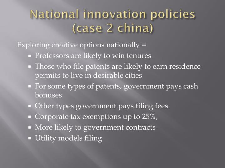 National innovation policies
