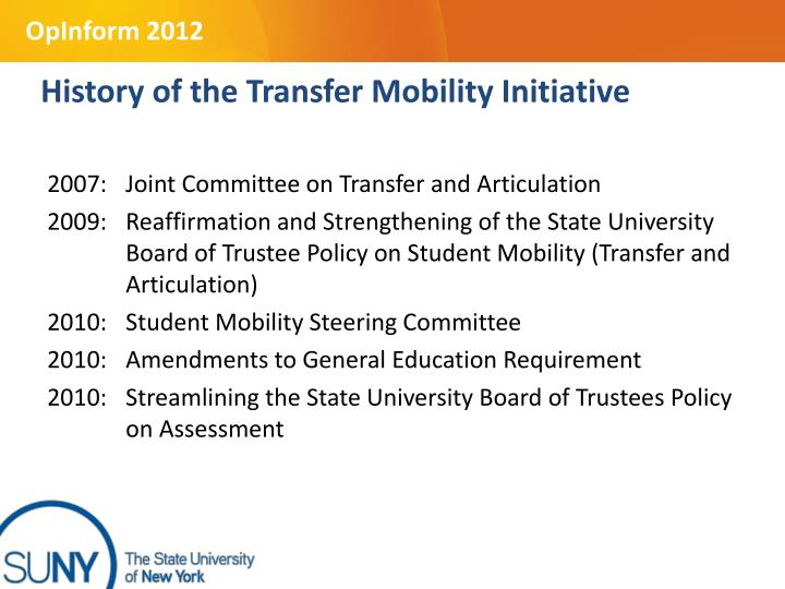 History of the Transfer Mobility Initiative