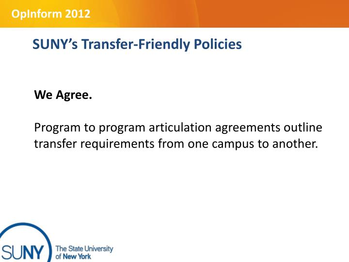 SUNY's Transfer-Friendly Policies