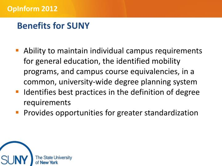 Benefits for SUNY