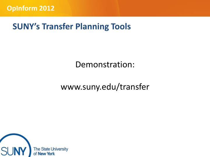 SUNY's Transfer Planning Tools