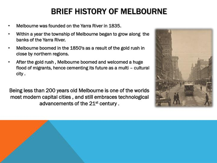 Brief history of Melbourne
