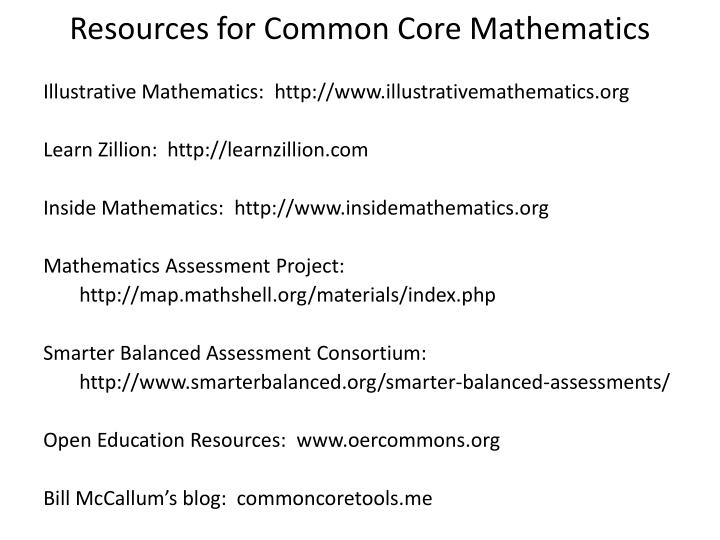 Resources for Common Core Mathematics