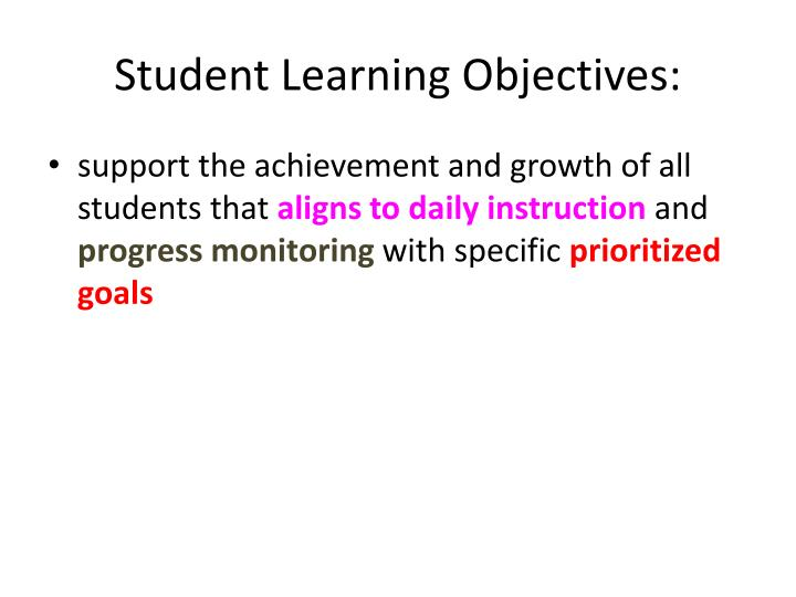 Student Learning Objectives: