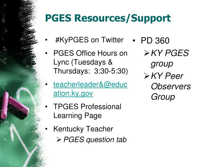 PGES Resources/Support