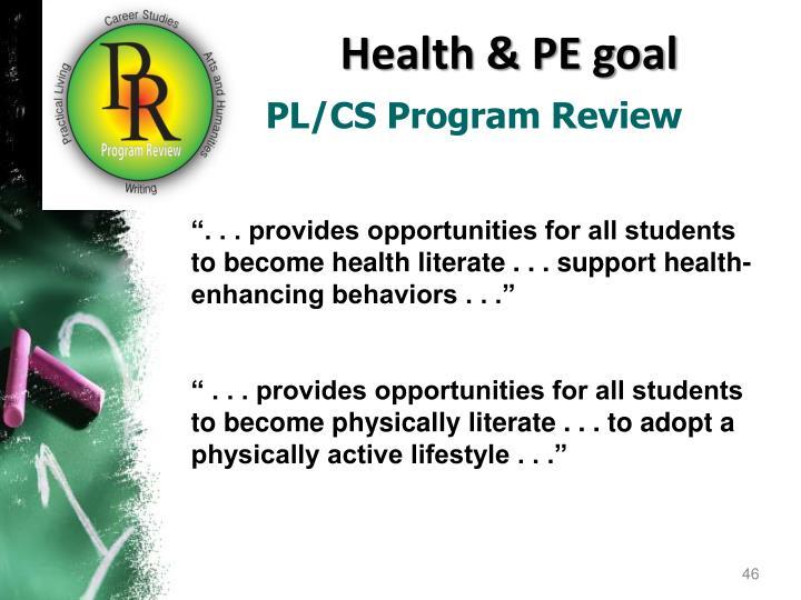 Health & PE goal