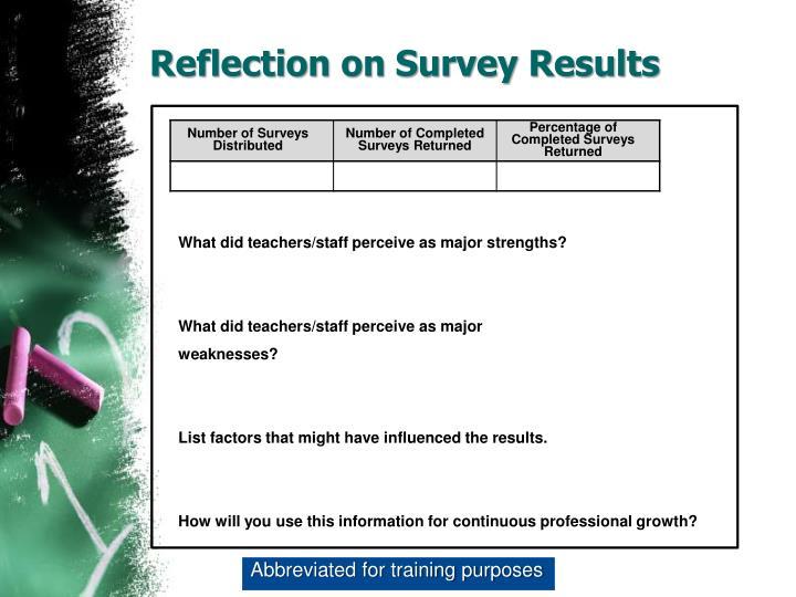 Reflection on Survey Results