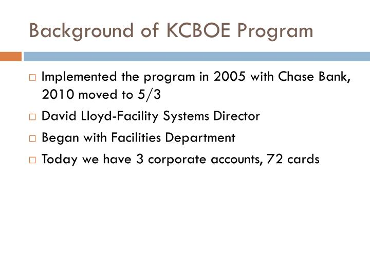 Background of KCBOE Program