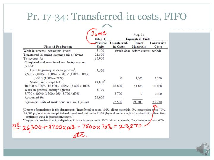 Pr. 17-34: Transferred-in costs, FIFO