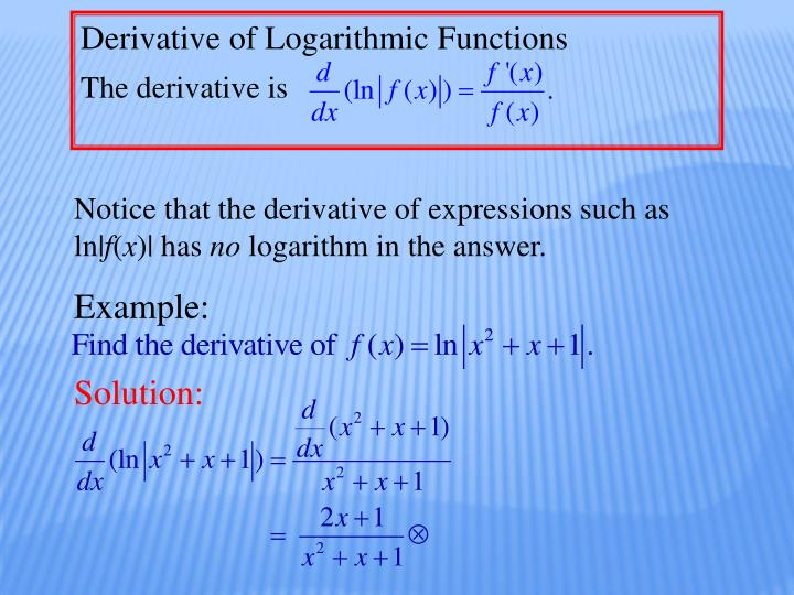 Derivative of Logarithmic Functions