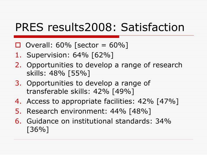 PRES results2008: Satisfaction