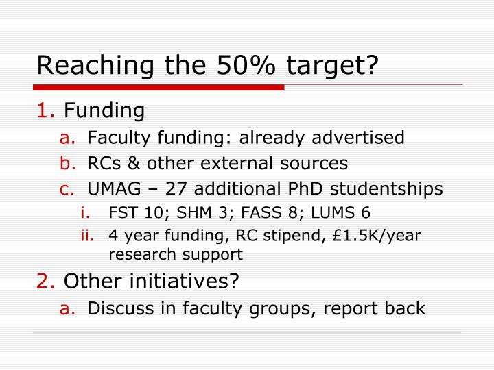 Reaching the 50% target?