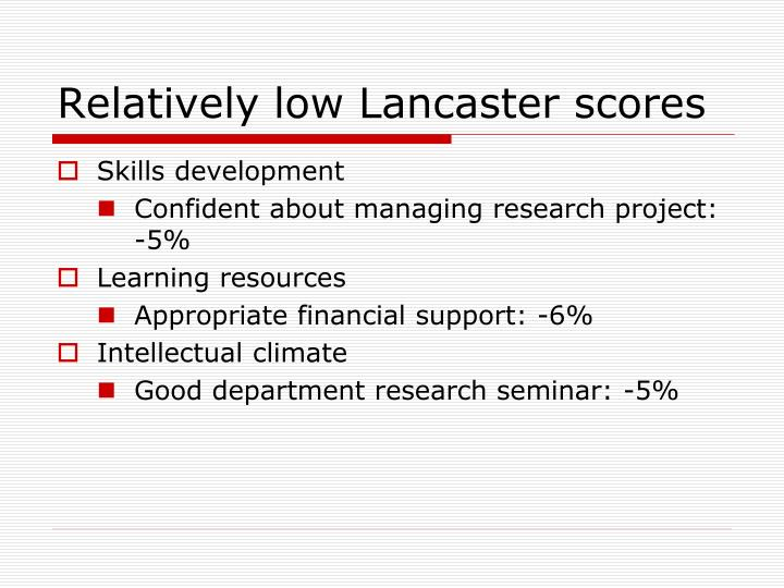 Relatively low Lancaster scores