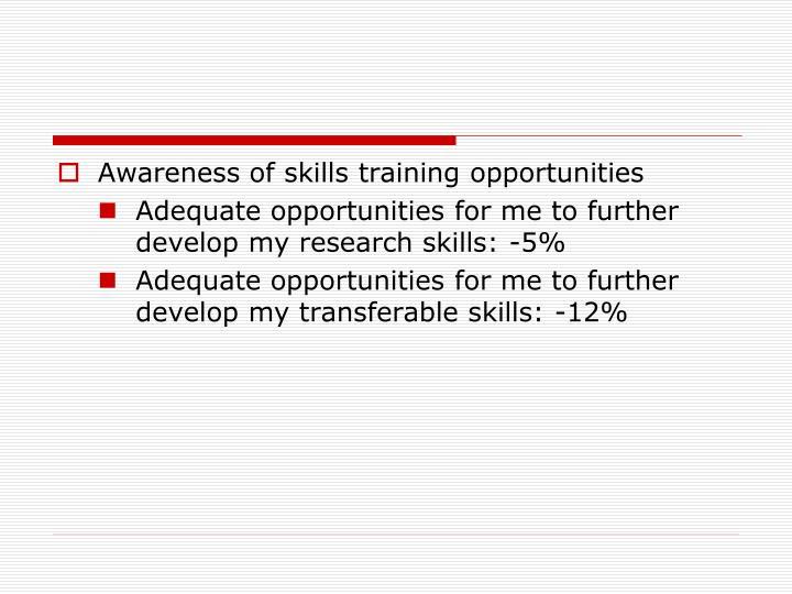 Awareness of skills training opportunities