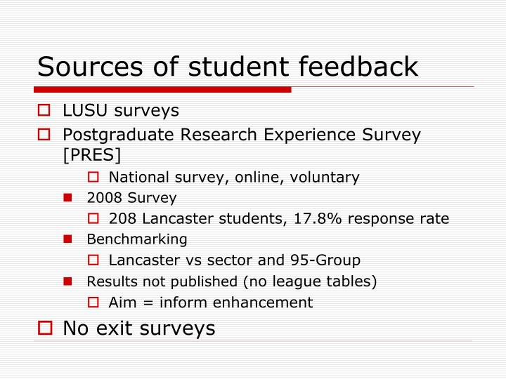Sources of student feedback
