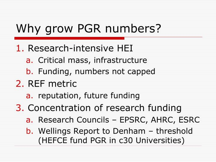 Why grow PGR numbers?