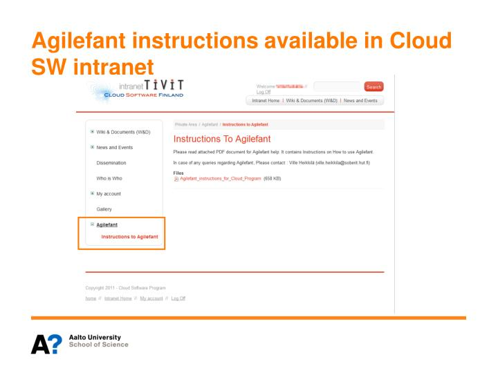 Agilefant instructions available in Cloud SW intranet