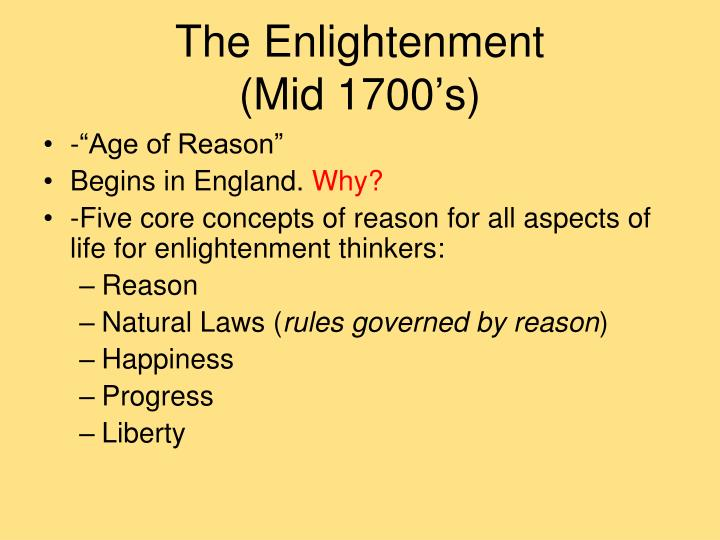 The enlightenment mid 1700 s