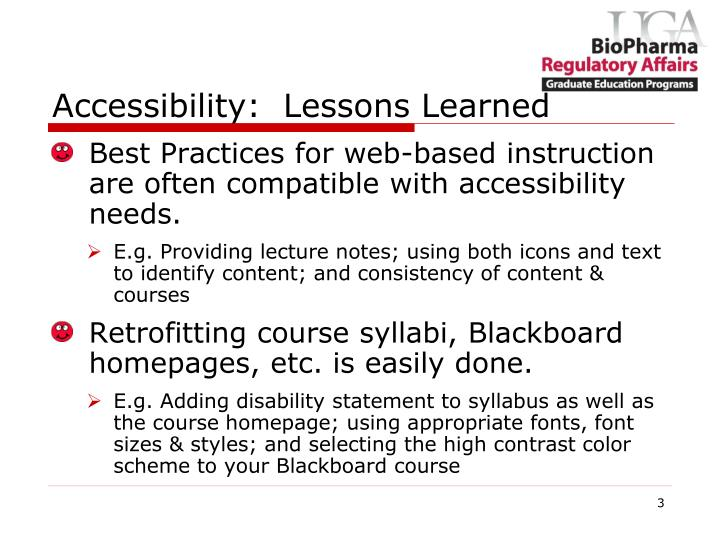 Accessibility:  Lessons Learned