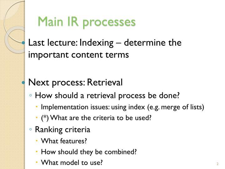 Main IR processes