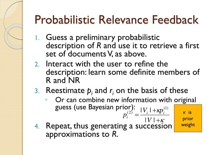 Probabilistic Relevance Feedback