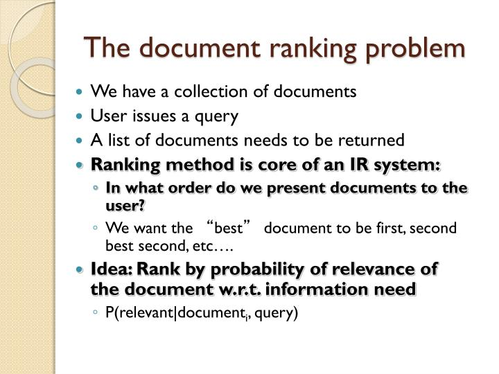 The document ranking problem