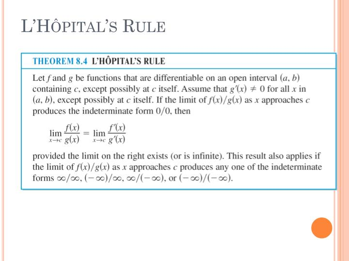 L'Hôpital's Rule