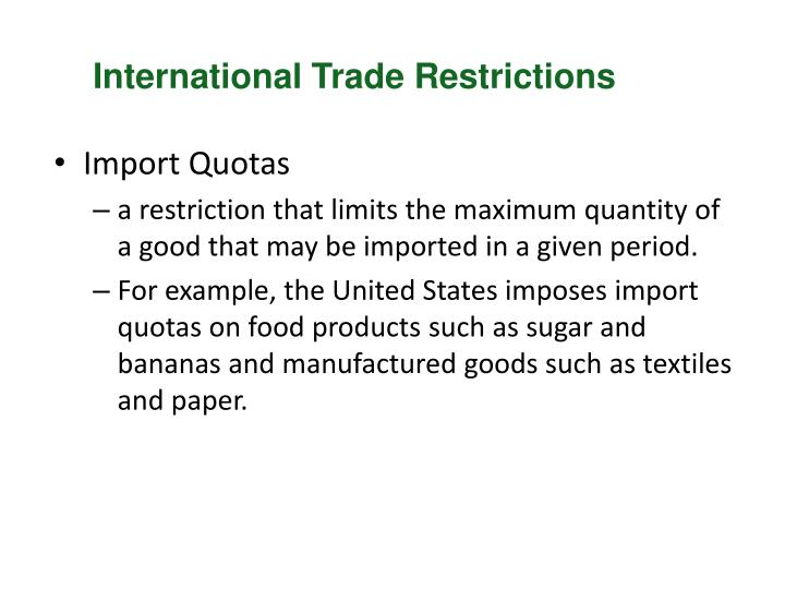 Non-tariff barriers to international trade