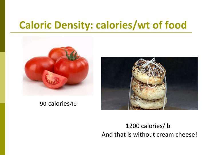 Caloric Density: calories/wt of food