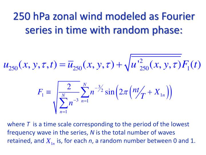 250 hPa zonal wind modeled as Fourier series in time with random phase:
