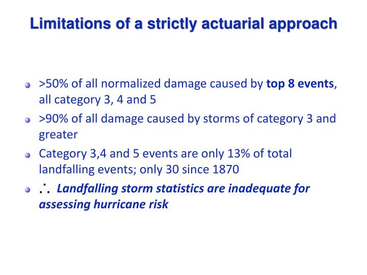 Limitations of a strictly actuarial approach