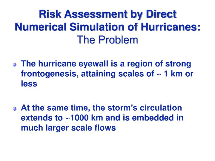 Risk Assessment by Direct Numerical Simulation of