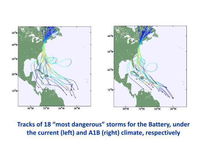 "Tracks of 18 ""most dangerous"" storms for the Battery, under the current (left) and A1B (right) climate, respectively"