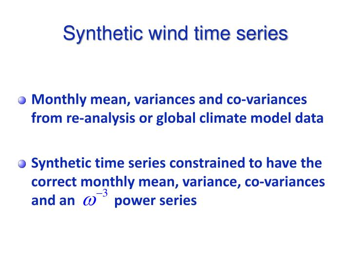 Synthetic wind time series