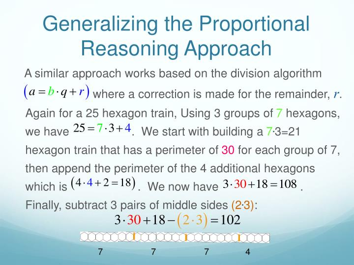 Generalizing the Proportional Reasoning Approach