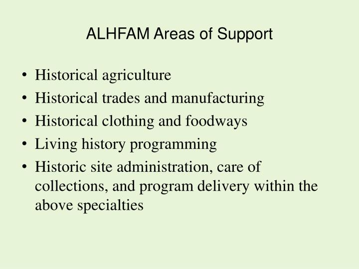 ALHFAM Areas of Support