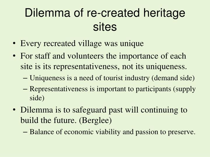 Dilemma of re-created heritage sites