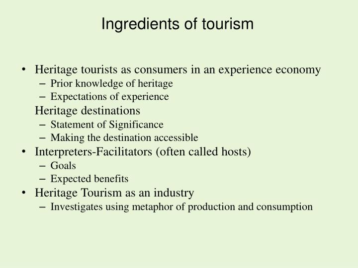 Ingredients of tourism