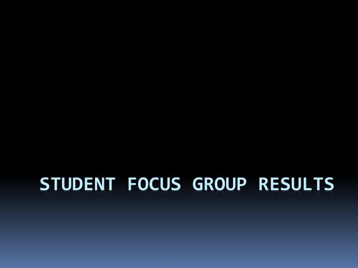 Student focus group results