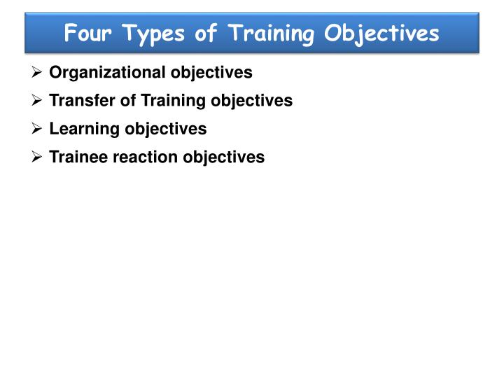Four types of training objectives