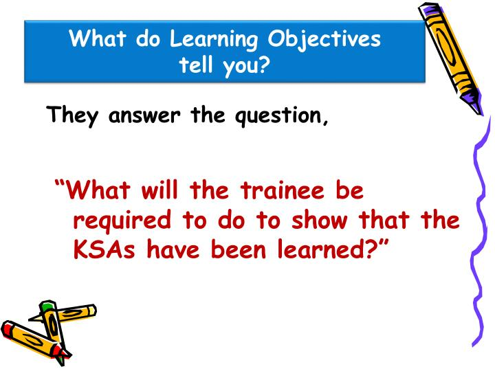 What do Learning Objectives