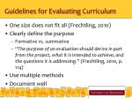 guidelines for evaluating curriculum