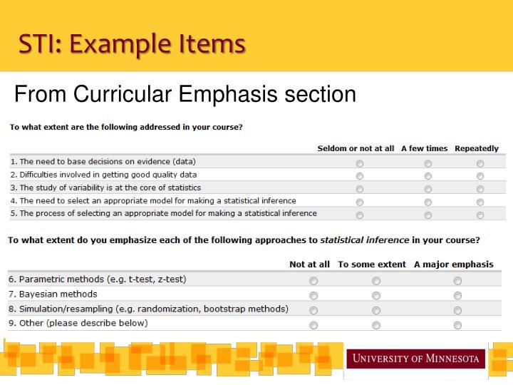 STI: Example Items