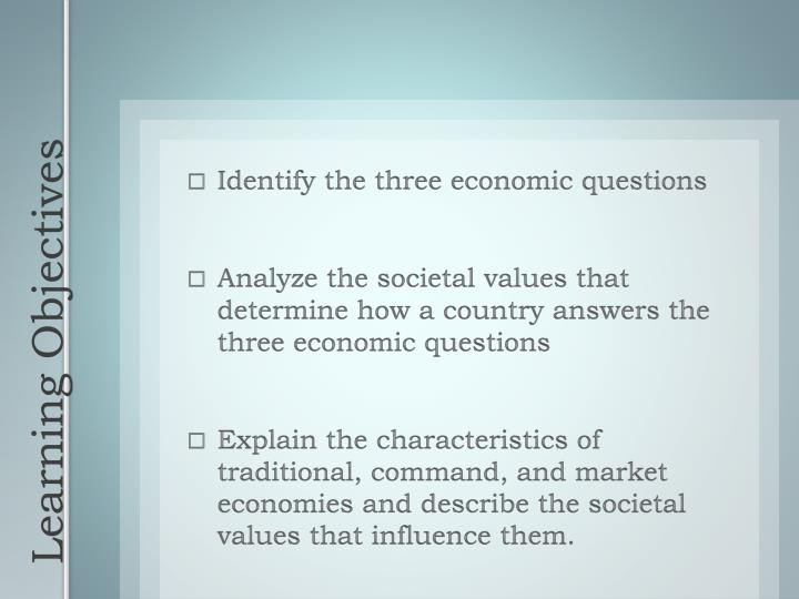 Identify the three economic questions