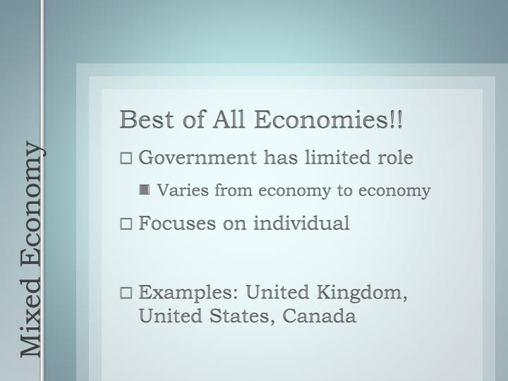 Best of All Economies!!
