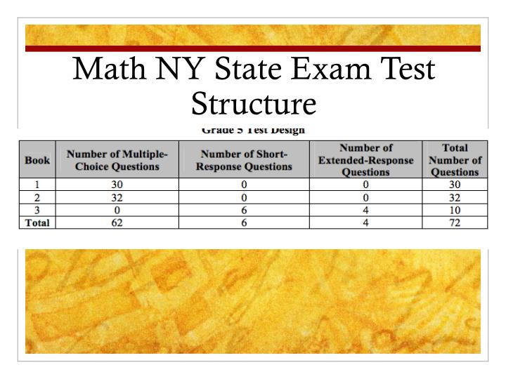 Math NY State Exam Test Structure