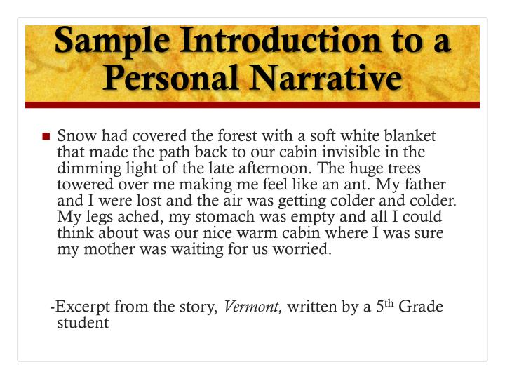 Sample Introduction to a Personal Narrative