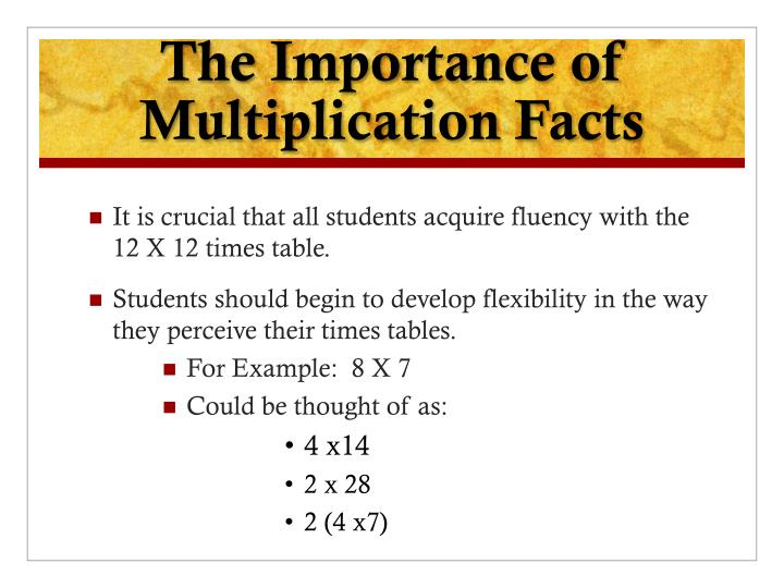 The Importance of Multiplication Facts